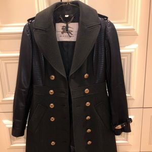 Burberry London long coat. Wool and leather